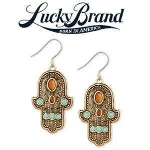 🍀Lucky Brand🍀Gold~Tone Beaded Hamsa Earrings